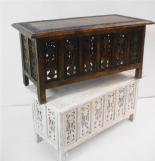 Beautiful Brown White Hand Carved Indian Wooden Coffee Table Side Tables 91x46cm (STB2VA)
